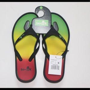 NWT Womens Sanuk Sidewalker Flip Flop Sz 6